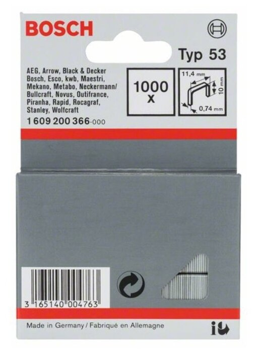 Скобы BOSCH 1609200366 тип 53 для степлера, 10 мм