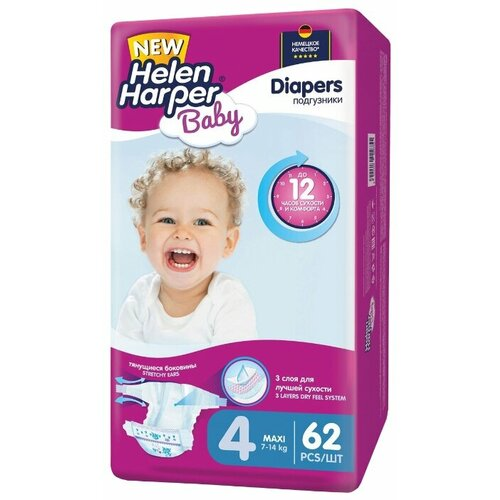 Helen Harper подгузники Baby 4 (7-14 кг) 62 шт. подгузники helen harper baby размер 4 maxi 7 14 кг 62 шт 5411416 029731