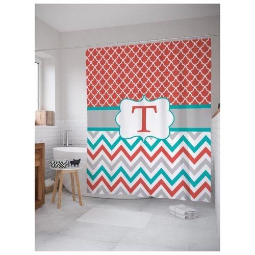 Штора для ванной JoyArty T с зигзагами 180х200 (sc-5337t) разноцветный