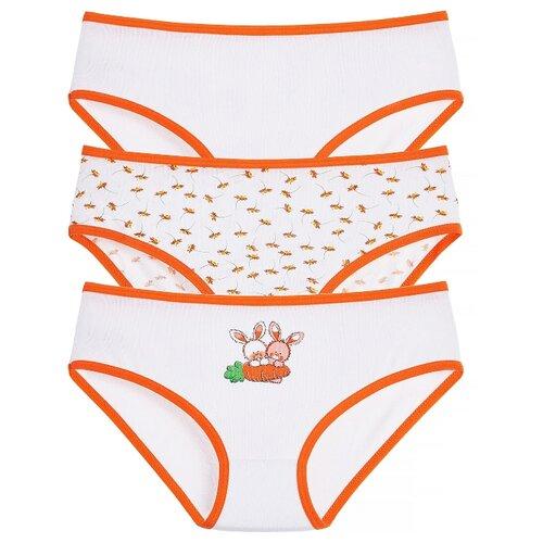 Купить Трусики Lowry 3 шт., размер L, белый/оранжевый, Белье и купальники