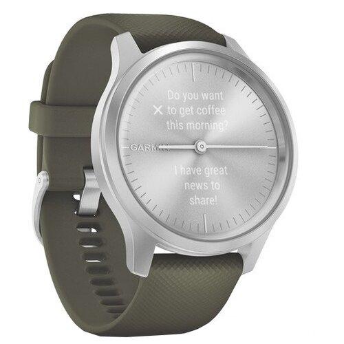 Умные часы Garmin Vivomove Style с силиконовым ремешком, серебристый/травяной умные часы garmin vivomove luxe с кожаным ремешком черный золотистый