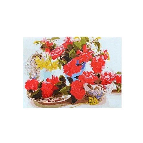 рыжий кот картина по номерам сиреневые и белые цветы 30x40 см х 3712 Рыжий кот Картина по номерам Коралловые цветы 40х50 см (Х-4735)