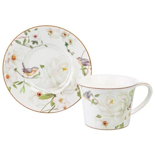 Чайная пара 2 предмета 270 мл 12,5х9,5х7 см Elan Gallery Дикая роза на белом недорого