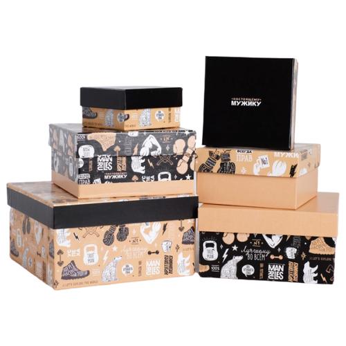 Фото - Набор подарочных коробок Дарите счастье Мужской крафт, 6 шт. бежевый/белый/черный набор подарочных коробок дарите счастье универсальный 10 шт бежевый белый черный