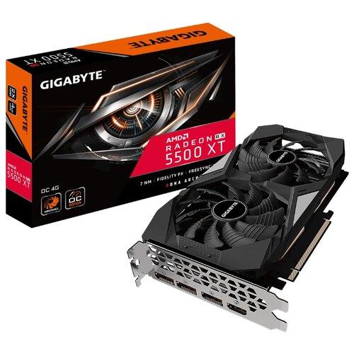 Фото - Видеокарта GIGABYTE Radeon RX 5500 XT 1733Mhz PCI-E 4.0 4096Mb 14000Mhz 128 bit HDMI 3xDisplayPort HDCP OC Retail видеокарта gigabyte radeon rx 570 1244mhz pci e 3 0 8192mb 7000mhz 256 bit dvi hdmi 3xdisplayport hdcp gaming retail