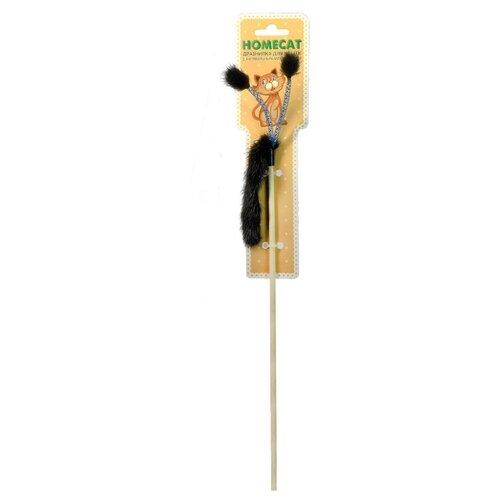 Дразнилка для кошек Homecat Хвостик из норки с помпонами на пружинках игрушка для кошек homecat дразнилка лапка из норки с лентами 71133 1 шт