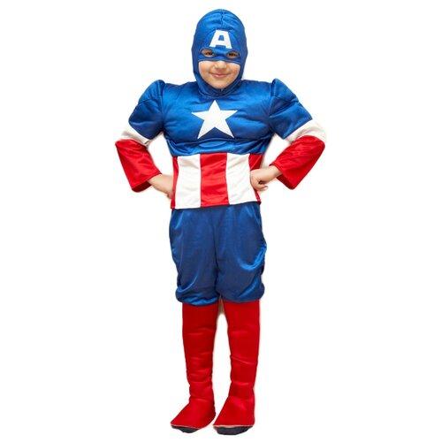 Купить Костюм Bristol Novelty Капитан Америка (ПЯ045), белый/синий/красный, размер 122-134, Карнавальные костюмы