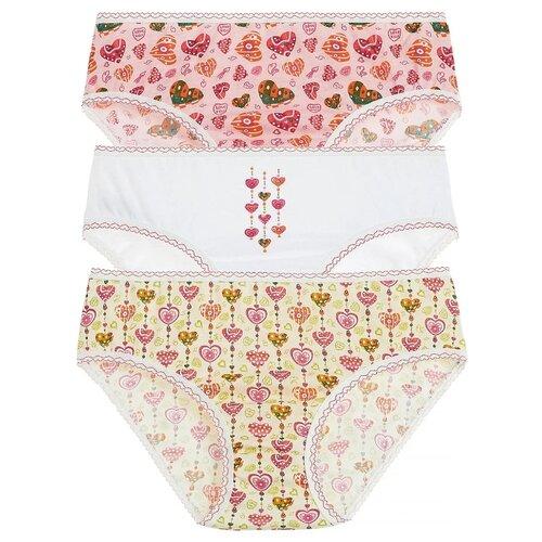 Купить Трусики Lowry 3 шт., размер XL, белый/розовый, Белье и купальники