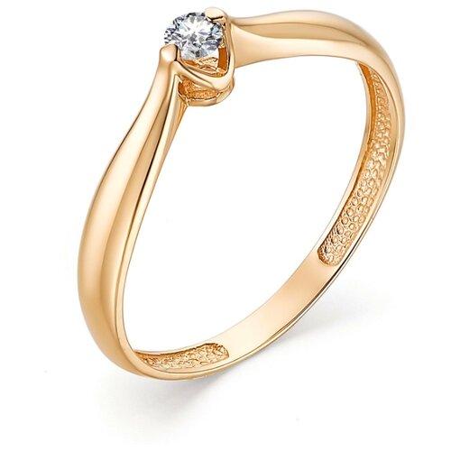 АЛЬКОР Кольцо с 1 бриллиантом из красного золота 13178-100, размер 16.5