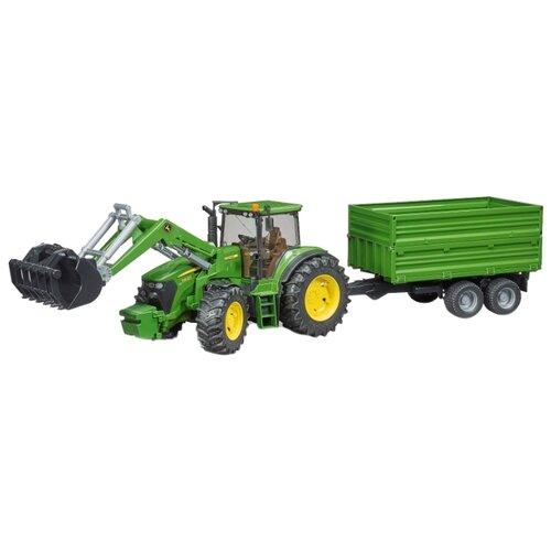 Трактор Bruder John Deere 7930 с погрузчиком и прицепом (03-055) 1:16 80.5 см зеленый bruder трактор john deere 7930 зеленый