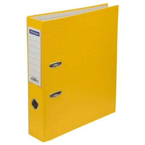Купить OfficeSpace Папка-регистратор с карманом на корешке A4, бумвинил, 70 мм желтый, Файлы и папки