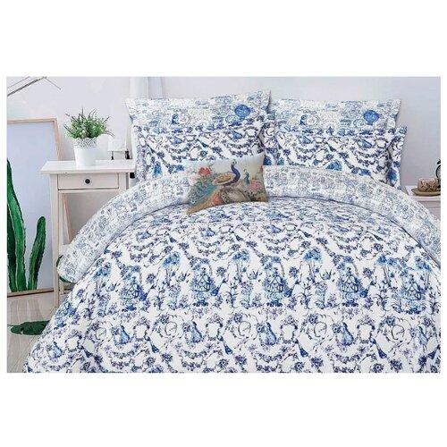 цена Постельное белье 2-спальное Mona Liza Ceramic Blue on white, сатин голубой/белый онлайн в 2017 году