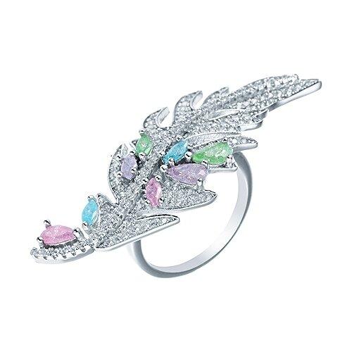 JV Кольцо с стеклом и фианитами из серебра CAR1314-US-001-WG, размер 17 jv кольцо с ювелирным стеклом из серебра b3198 us 011 wg размер 17 5