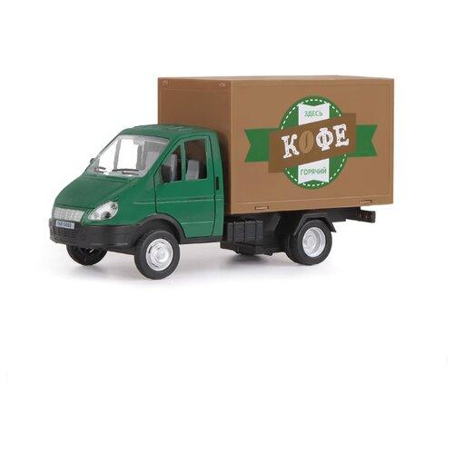 Купить Фургон Автопанорама Газель-бизнес Кофе (JB1200216) 1:28 19.2 см зеленый/коричневый, Машинки и техника