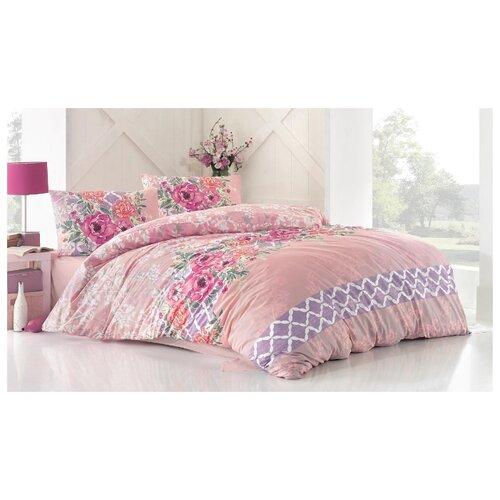 Постельное белье евростандарт Altinbasak Asel, ранфорс розовый
