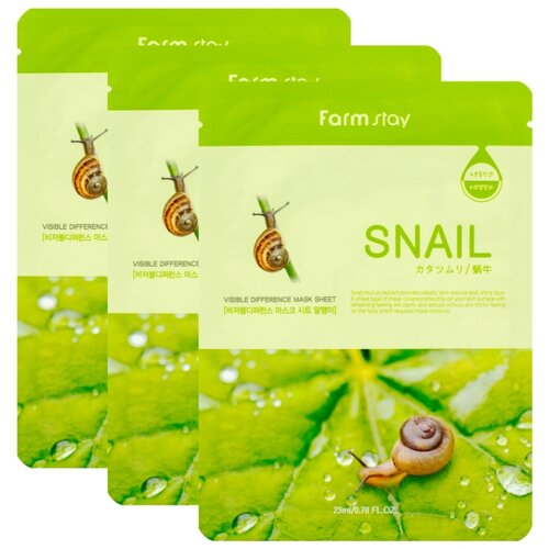 Farmstay Тканевая маска Visible Difference Mask Sheet Snail с экстрактом улитки, 23 мл, 3 шт. farmstay тканевая маска для лица с коллагеном visible difference mask sheet collagen 23 мл