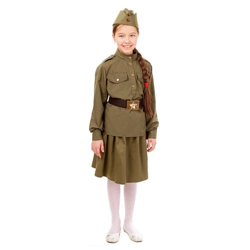 Купить Костюм пуговка Солдатка (2033 к-18), хаки, размер 110, Карнавальные костюмы