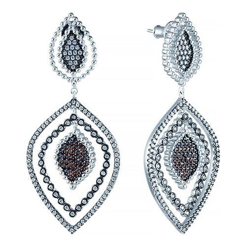 JV Серьги с фианитами из серебра E27421-M-SR-001-WG jv серьги с фианитами из серебра e26752 w2 sr 001 wg