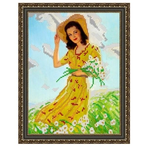 Светлица Набор для вышивания бисером Девушка с ромашками 19 х 24 см, бисер Чехия (150)
