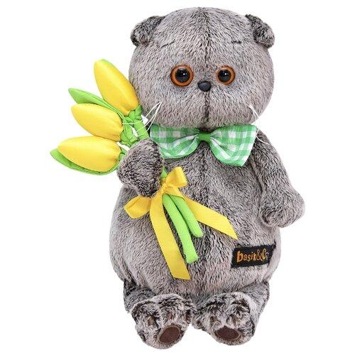 Купить Мягкая игрушка Basik&Co Кот Басик с желтыми тюльпанами 19 см, Мягкие игрушки