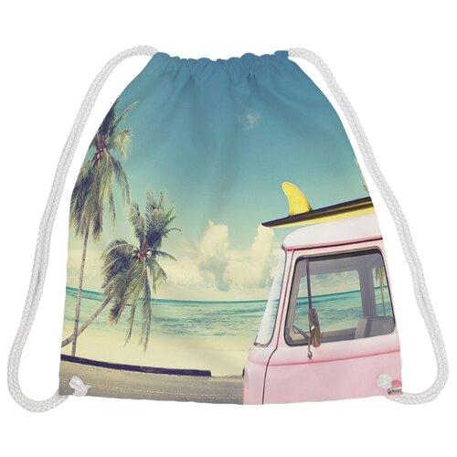 Купить JoyArty Рюкзак-мешок Путешествие на море (bpa_8783) бирюзовый/розовый, Мешки для обуви и формы