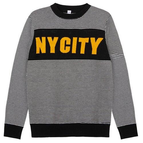 Купить Джемпер playToday размер 128, черный/оранжевый/белый, Свитеры и кардиганы