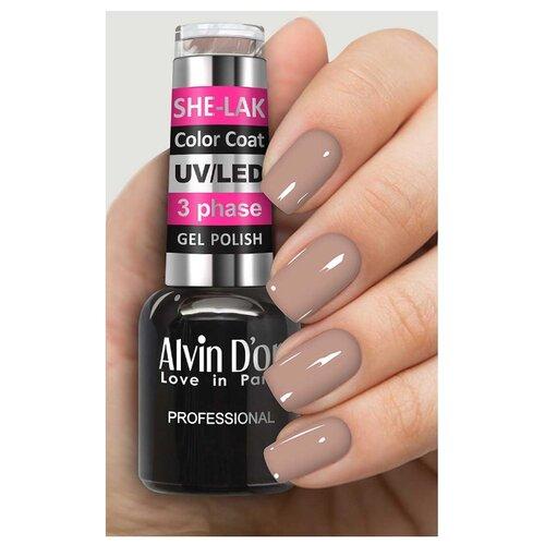 Фото - Гель-лак для ногтей Alvin D'or She-Lak Color Coat, 8 мл, оттенок 3506 гель лак для ногтей cosmoprofi color coat 15 мл оттенок 027
