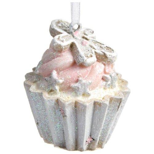 Елочная игрушка Magic Time Маленький кексик (78156) белый/розовый