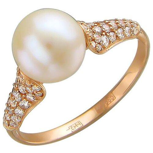 Эстет Кольцо с жемчугом и бриллиантами из красного золота 01К615152-1, размер 18 ЭСТЕТ
