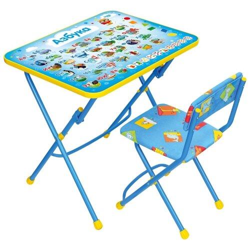 Купить Комплект Nika стол + стул Азбука КУ1/9 60x45 см синий, Парты и столы