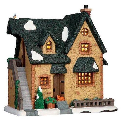 фигурка lemax платформа с рождественскими игрушками 10 4 x 18 x 10 см красный зеленый Фигурка LEMAX Зимний домик 19.2 x 18.7 x 13.4 см бежевый/зеленый