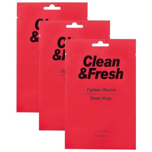 Eunyul тканевая маска Clean & Fresh для сужения пор, 22 мл, 3 шт. eunyul маска clean