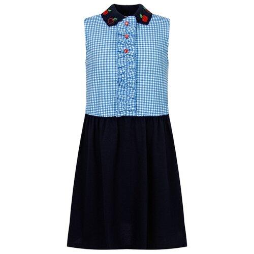 Платье GUCCI размер 104, синий/клетка/голубой