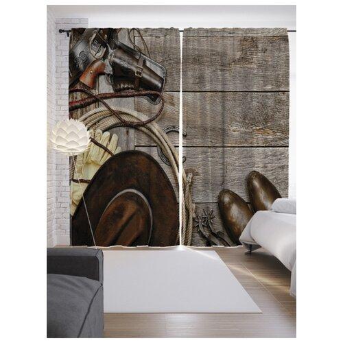 Фотошторы JoyArty Ковбойские принадлежности на ленте 265 см бежевый/коричневый/серый