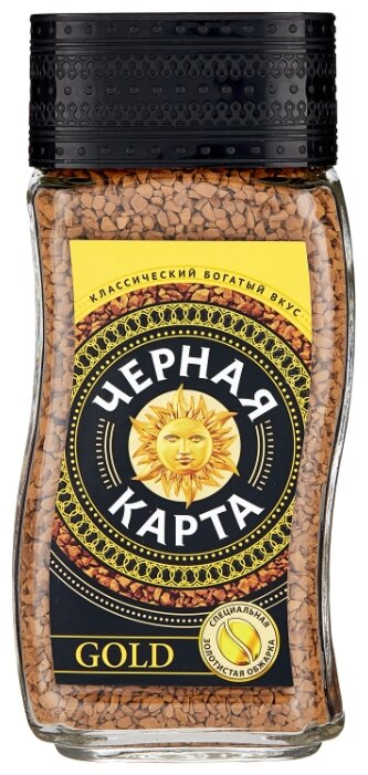 Купить Кофе растворимый Черная карта Gold, стеклянная банка, 190 г по низкой цене с доставкой из Яндекс.Маркета