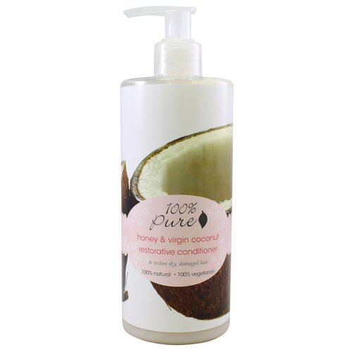 100% Pure кондиционер для волос тонизирующий Мед и Молодой Кокос, 390 мл кондиционер для волос черная ваниль и мед indian khadi 300 мл