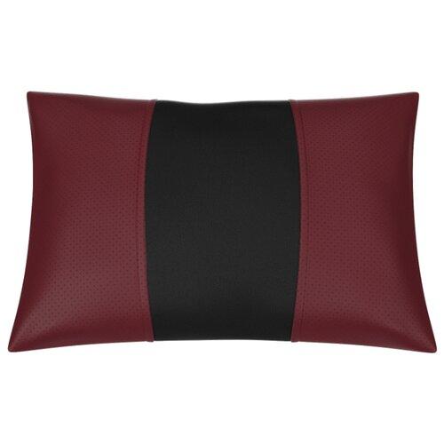 Автомобильная подушка, поясничный подпор Экокожа. Середина: чёрная гладкая экокожа. Боковины:бордовая экокожа с перфорацией.
