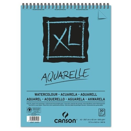 Альбом для акварели Canson XL Aquarelle 42 х 29.7 см (A3), 300 г/м², 30 л. альбом canson xl bristol 42 х