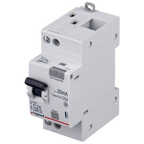 Дифференциальный автомат Legrand RX3 2П 30 мА C 20 А legrand выключатель авт 2п c 25а rx3 4 5ка leg 419699