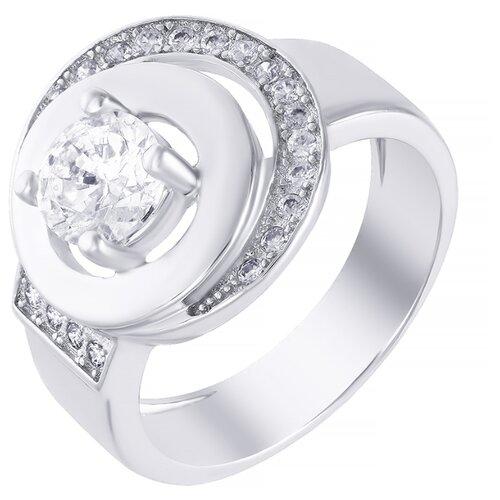 ELEMENT47 Широкое ювелирное кольцо из серебра 925 пробы с кубическим цирконием SK-SB047-R_001_WG, размер 16.5
