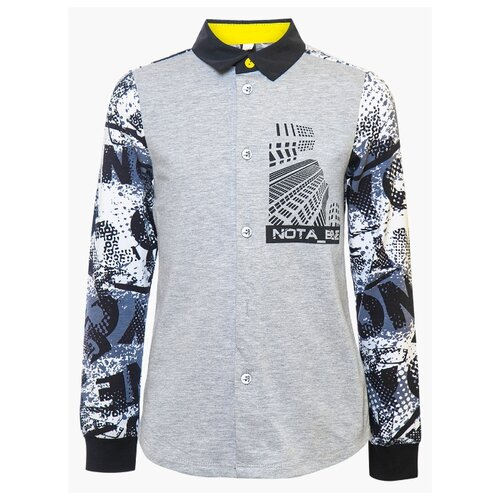 Рубашка Nota Bene размер 134, серый/черный