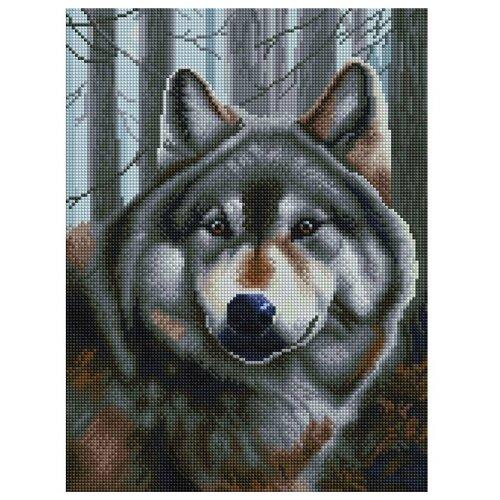 Мозаичная картина на подрамнике Волк, квадратные камни