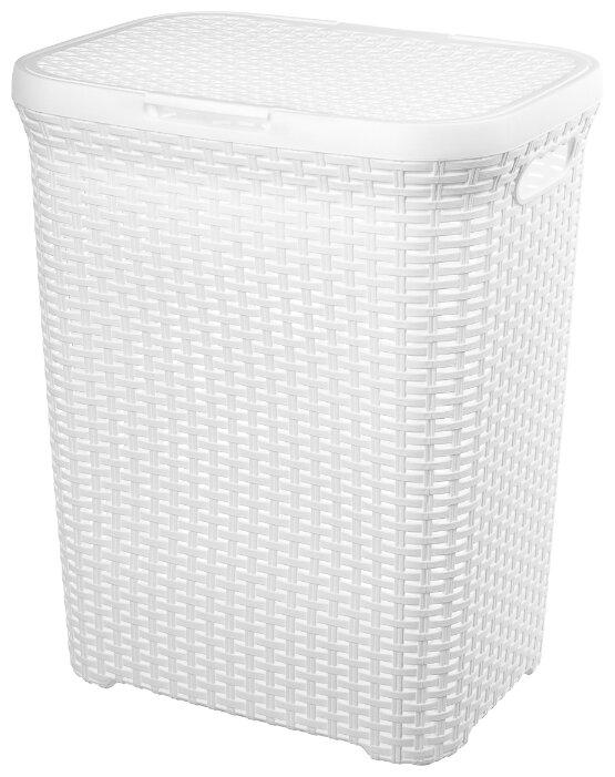 Купить Корзина для белья 60 л 44х35х56 см Violet Ротанг белая с крышкой по низкой цене с доставкой из Яндекс.Маркета