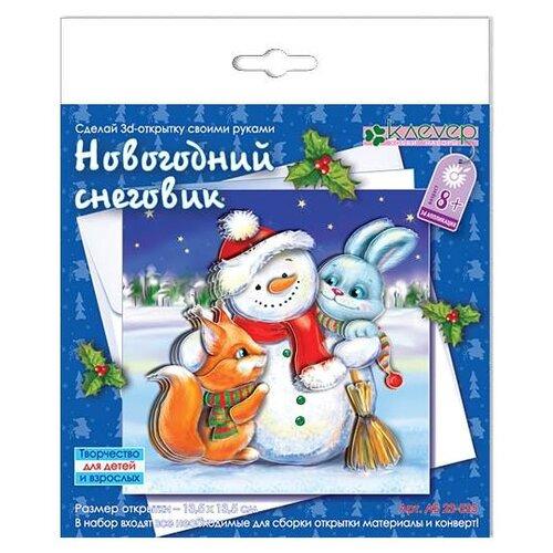 Купить Клеvер Набор для изготовления открытки Новогодний снеговик (АБ 23-535), Поделки и аппликации