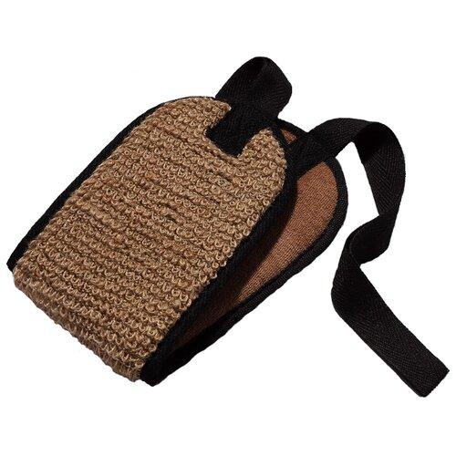 Мочалка Zeitun двухсторонняя из бамбукового полотна и джута Authentic коричневый