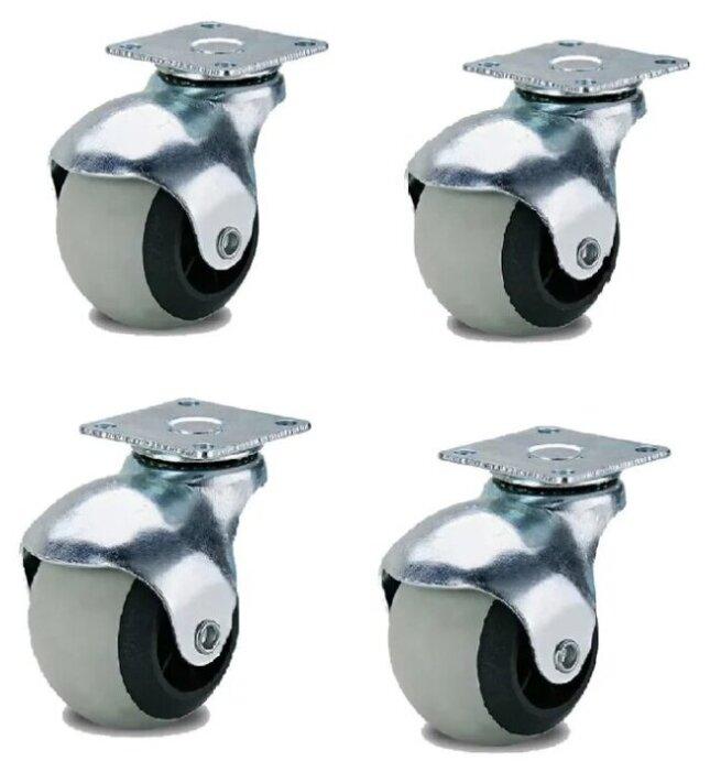Купить Набор 4 шт Колесо мебельное поворотное шарик 50мм серая резина Колёсник по низкой цене с доставкой из Яндекс.Маркета (бывший Беру)