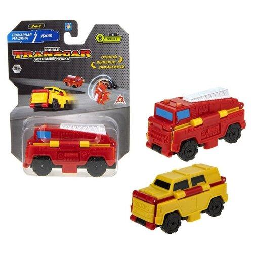 Купить Машинка 1 TOY Transcar Double 2 в 1: Пожарная машина/Джип (Т18277) 8 см красный/желтый, Машинки и техника