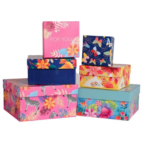 Фото - Набор подарочных коробок Дарите счастье Тропики, 6 шт. розовый/синий/желтый набор подарочных коробок tai an baoli paper product co ltd фауна 17 шт желтый
