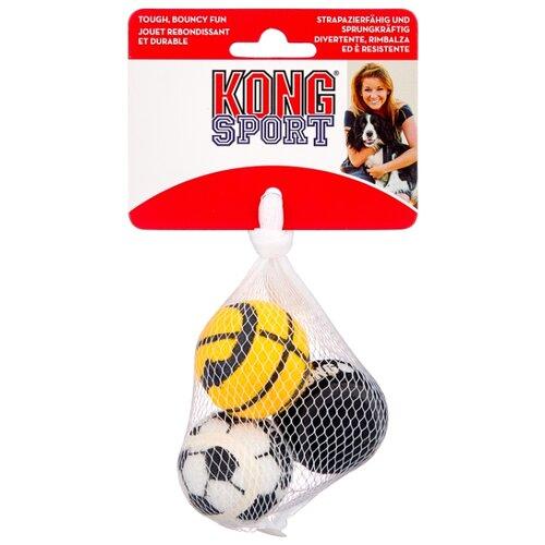 Мячик для собак KONG Air Sport теннисный очень маленький, 3 шт (ABS5E) черный/белый/оранжевый