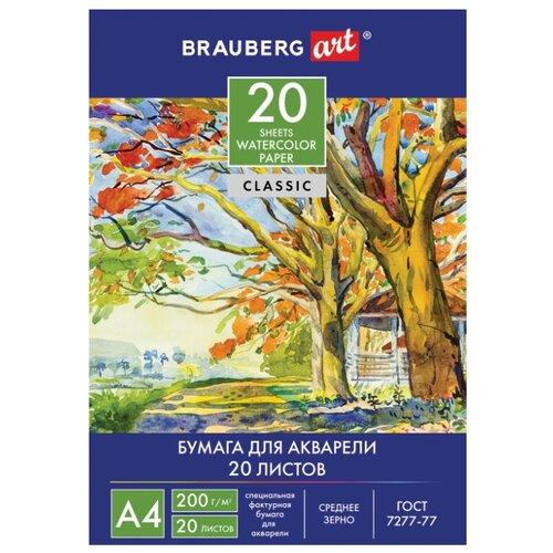 Купить Бумага BRAUBERG для акварели 111073 (A4), 200г/м², 20 л. белый, Бумага для рисования